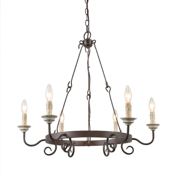 Greggs 6 - Light Candle Style Wagon Wheel Chandelier by Ophelia & Co. Ophelia & Co.