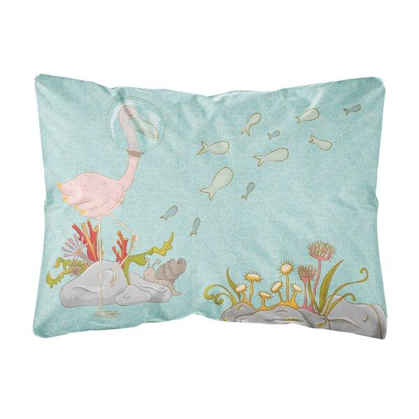 Jedidiah Flamingo Underwater Indoor/Outdoor Throw Pillow by Highland Dunes