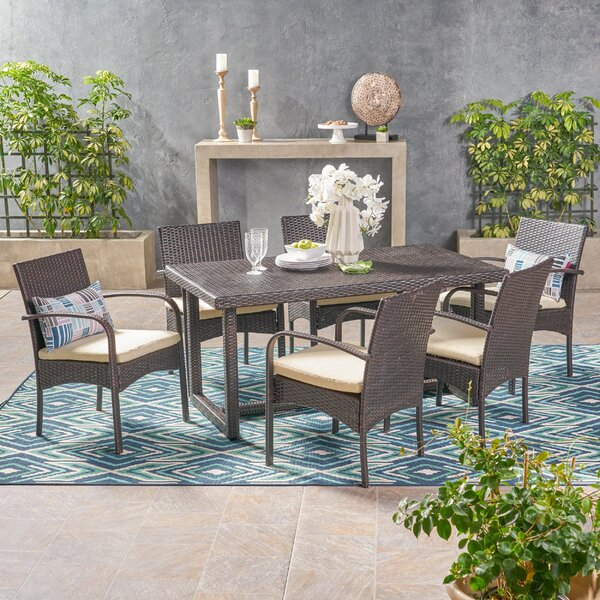 Conatser Outdoor 7 Piece Dining Set with Cushions by Ivy Bronx