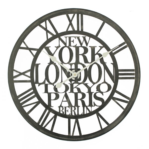 Oversized Giannone Cities of the World 23.6 Wall Clock by Ebern Designs