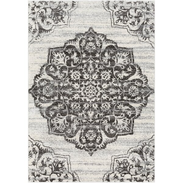 Carmel Distressed Medallion Black/Gray Area Rug by Bungalow Rose