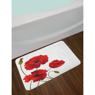 Floral poppy rug wayfair floral poppy flowers vivid petals with buds pastoral purity mother earth nature design non slip plush bath rug mightylinksfo