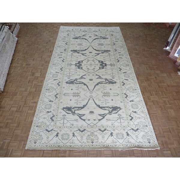 One-of-a-Kind Pellegrino Turkish Oushak Hand-Knotted Wool Ivory Area Rug by Bloomsbury Market