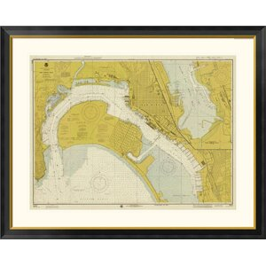 Nautical Chart - San Diego Bay ca. 1974 - Sepia Tinted Framed Graphic Art by Global Gallery