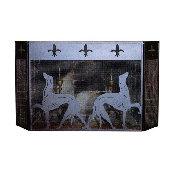 Greyhound 3 Panel Steel Fireplace Screen By Meyda Tiffany