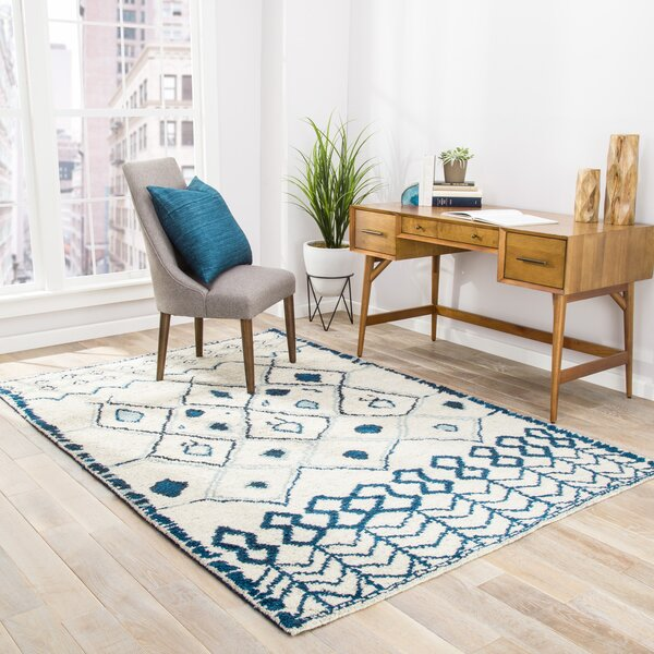 Halton Hand Knotted Cream Blue Area Rug By Ivy Bronx.