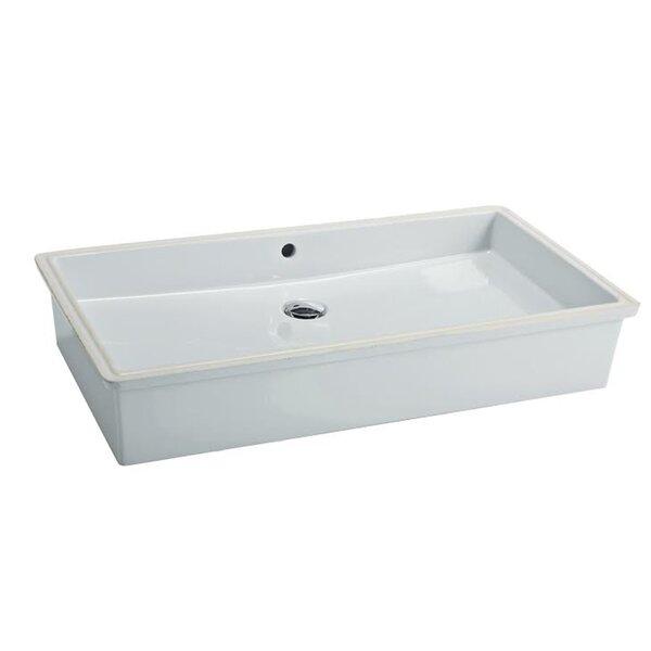 City Ceramic Rectangular Undermount Bathroom Sink with Overflow