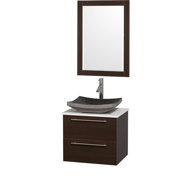 Amare 24 Single Espresso Bathroom Vanity Set with Mirror by Wyndham Collection