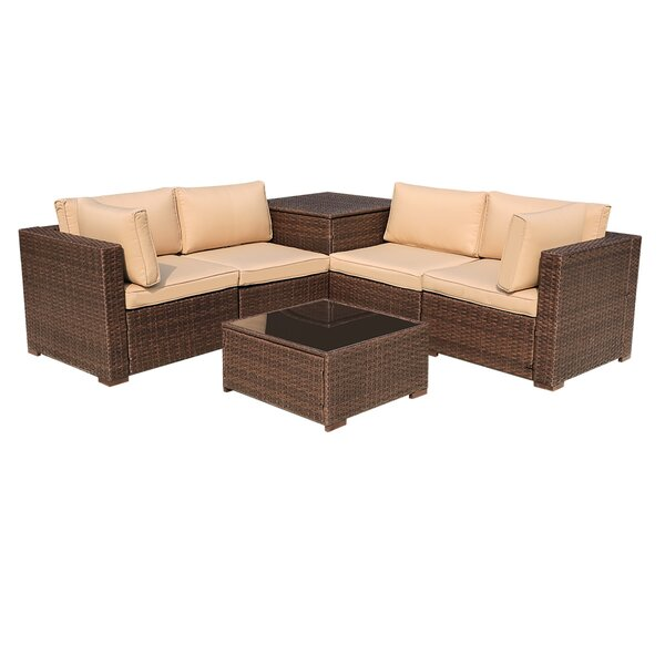 Alishma 6 Piece Rattan Sectional Seating Group with Cushions by Latitude Run