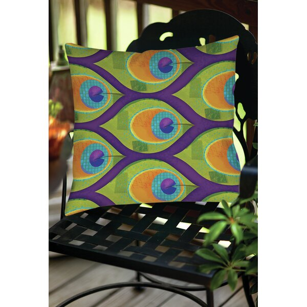 Peacock Pattern 10 Indoor/Outdoor Throw Pillow by Manual Woodworkers & Weavers