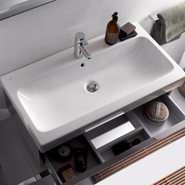 ICon Ceramic Rectangular Vessel Bathroom Sink with Overflow by Bissonnet