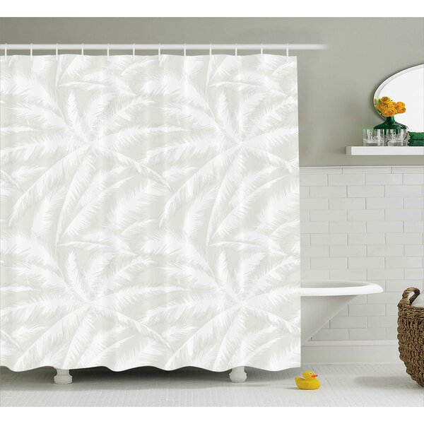Evonne Abstract Sketchy Palm Leaves Jungle Foliage Tropical Eco Exotic Branch Artsy Design Shower Curtain by Bayou Breeze