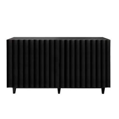 """Worlds Away Scalloped Front 60"""" Sideboard  Color: Black Lacquer"""
