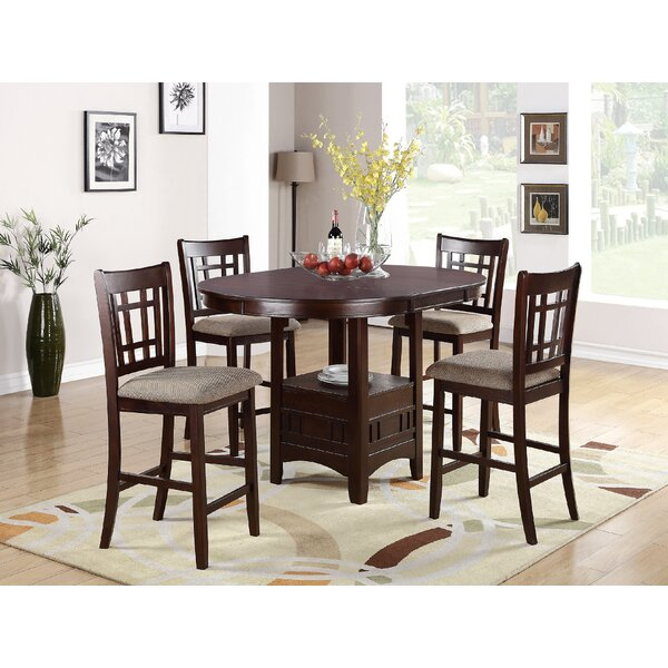 Doster 5 Piece Counter Height Extendable Solid Wood Dining Set by Red Barrel Studio
