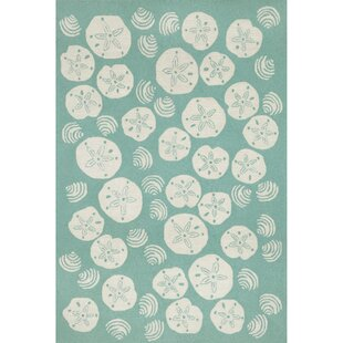 Artic Aqua Shell Hand-Tufted Blue Indoor/Outdoor Area Rug By Highland Dunes