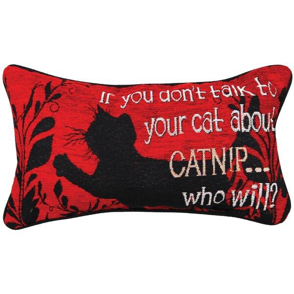 Kitty Talk Catnip Lumbar Pillow by Manual Woodworkers & Weavers