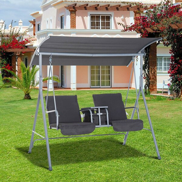 Laron Covered Patio Porch Swing with Stand by Freeport Park Freeport Park