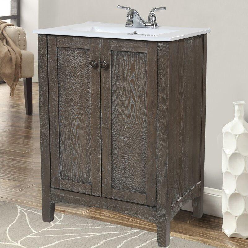 "charlton home jeremiah 24"" single bathroom vanity set & reviews"