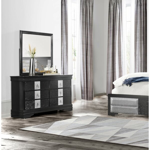 Farias 6 Drawer Double Dresser With Mirror By Everly Quinn by Everly Quinn Discount