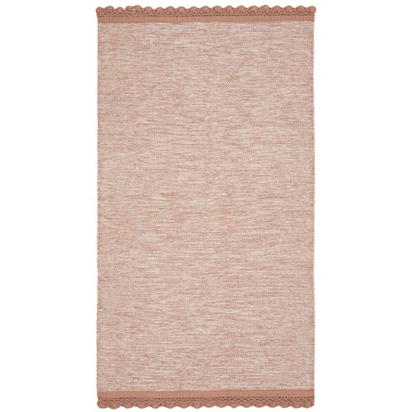 Mohnton Hand-Woven Peach/Gray Area Rug by Gracie Oaks