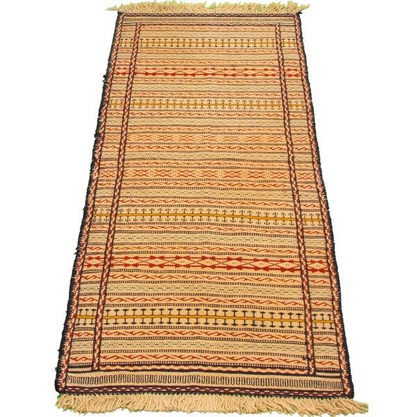 Zambrana Handmade Kilim Wool Ivory/Red Rug