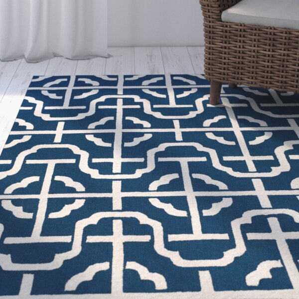 Whittenburg Cobalt/White Area Rug by Wrought Studio