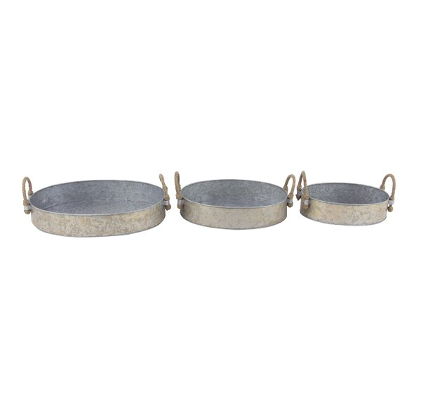 Osterley Round Iron 3 Piece Accent Tray Set by Gracie Oaks
