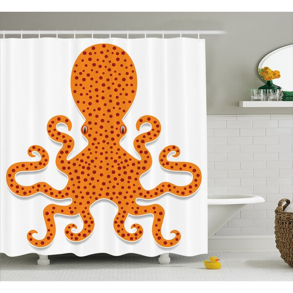 Sealife Octopus Marine Mosters Shower Curtain by East Urban Home