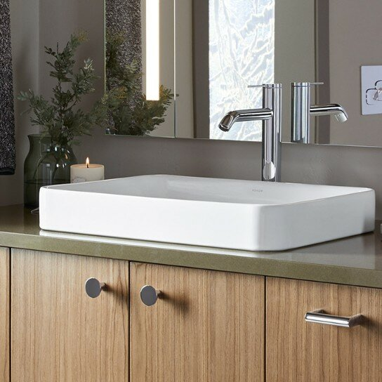 Vox Vitreous China Rectangular Vessel Bathroom Sin
