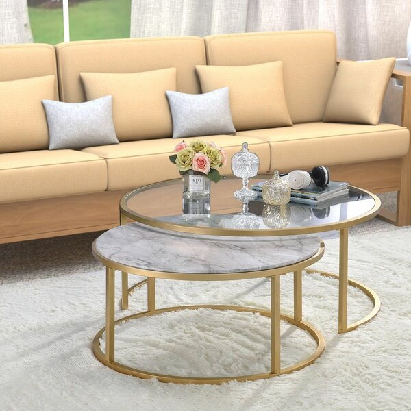 Kellan 2 Piece Coffee Table Set with Tray Top (Set of 2) by Everly Quinn Everly Quinn