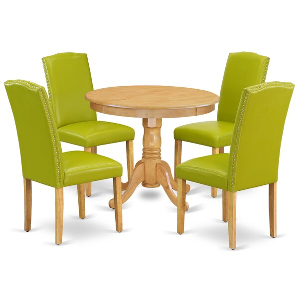 Pamala 5 Piece Solid Wood Dining Set by Alcott Hill Alcott Hill
