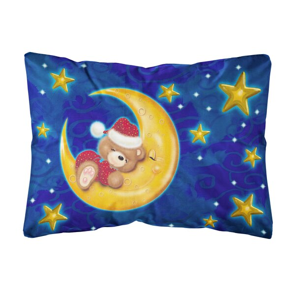 Salzer Bear Sleeping in the Moon and Stars Fabric Indoor/Outdoor Throw Pillow by Winston Porter