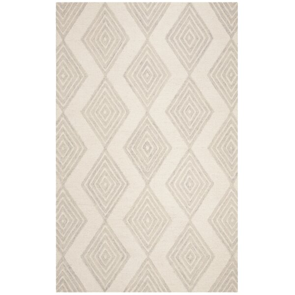 Pizano Hand-Woven Wool Ivory/Silver Area Rug by Wrought Studio