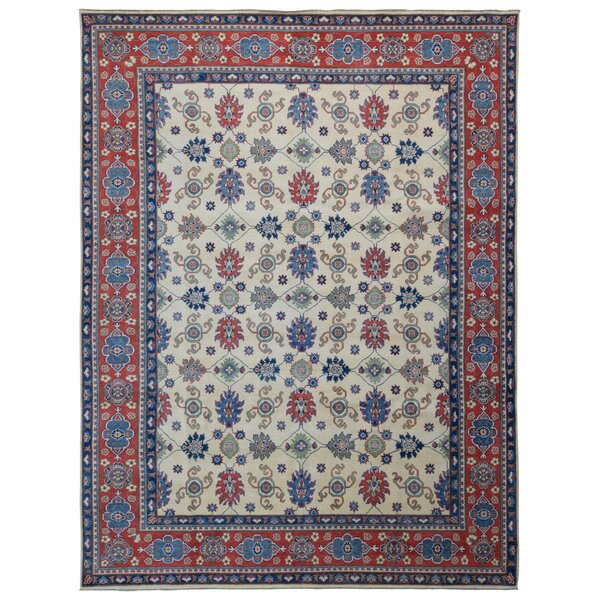 One-of-a-Kind Flaxt Oriental Hand-Knotted Red/Blue Area Rug by Bloomsbury Market