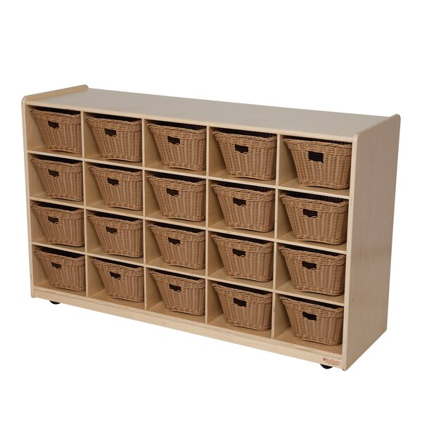 20 Compartment Cubby with Bins by Wood Designs