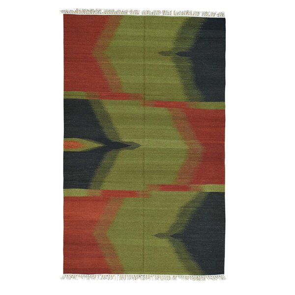 Flat Weave Reversible Durie Kilim Hand-Knotted Olive Green/Red Area Rug by Bloomsbury Market