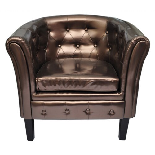 Chesterfield-Sessel | Wohnzimmer > Sessel > Chesterfield Sessel | Bronze | Leder - Kunstleder - Baumwolle - Polyester | Home Etc