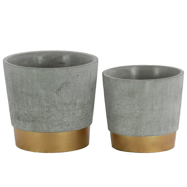 Bumgardner 2-Piece Cement Pot Planter Set by Union Rustic