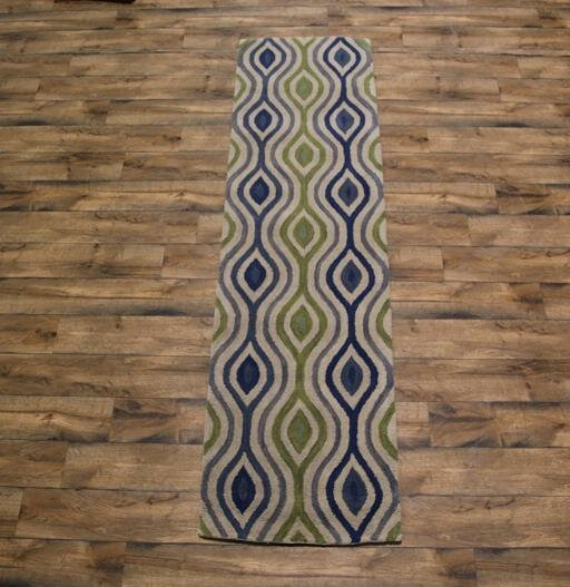 Fortune Oriental Hand-Tufted Wool Blue/Green Area Rug by Ebern Designs