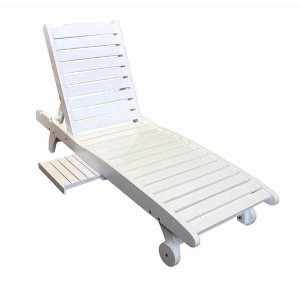 Finnerty Relaxing Wooden Reclining Chaise Lounge By Highland Dunes
