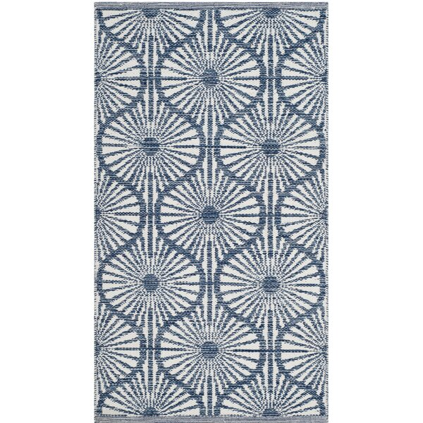 Oak Hill Hand-Woven Navy/Ivory Area Rug by Wrought Studio