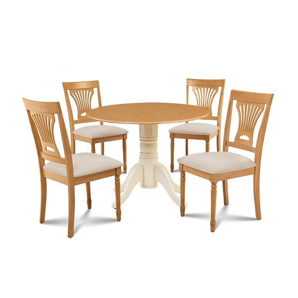 Forthill 5 Piece Drop Leaf Solid Wood Dining Set by Alcott Hill Alcott Hill