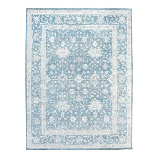 Oushak Hand-Knotted Blue Area Rug by Pasargad