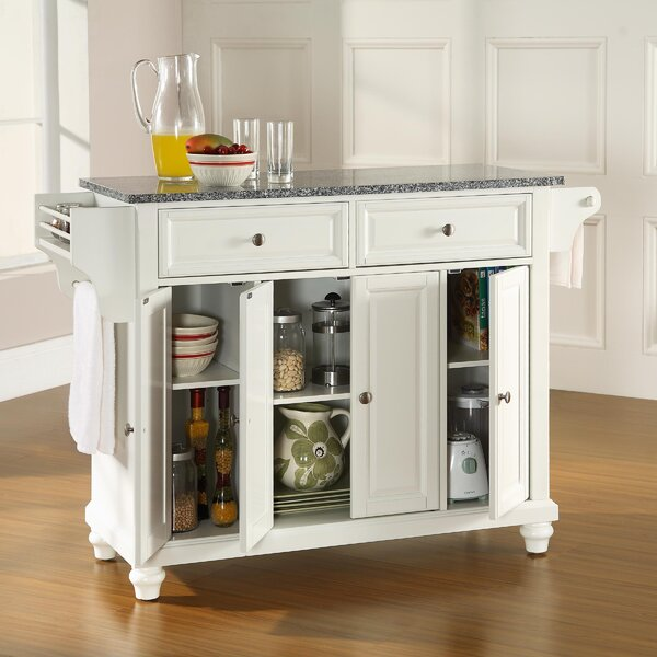 Cambridge Kitchen Island with Granite Top by Three Posts