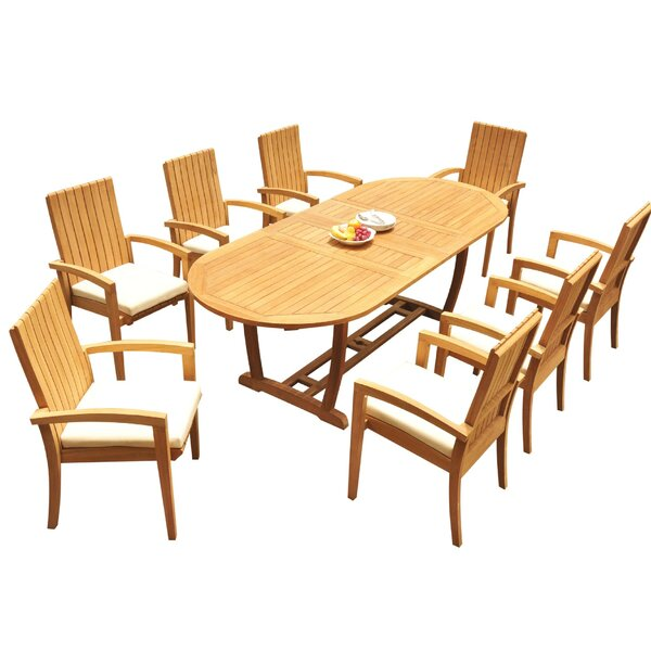 Weldon 9 Piece Teak Dining Set by Bayou Breeze