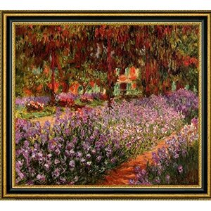 'The Garden also known as Irises' by Claude Monet Framed Painting Print by Canvas Art USA