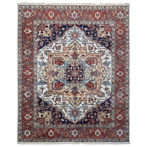 One-of-a-Kind Allegany Oriental Hand-Knotted Wool Beige/Red Area Rug by Bloomsbury Market
