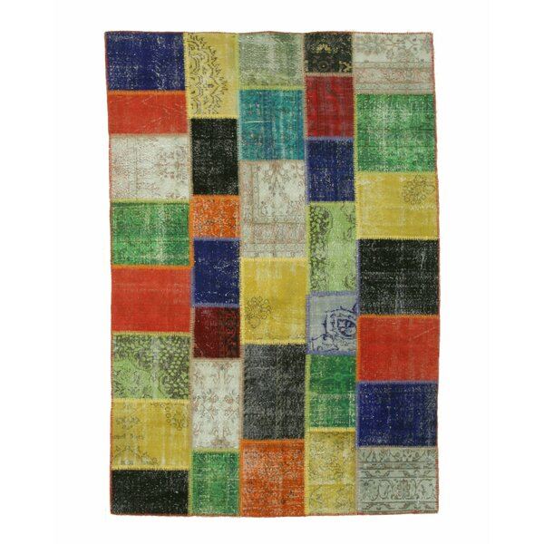 Turkish Hand-Knotted Green/Orange Area Rug by Eastern Rugs