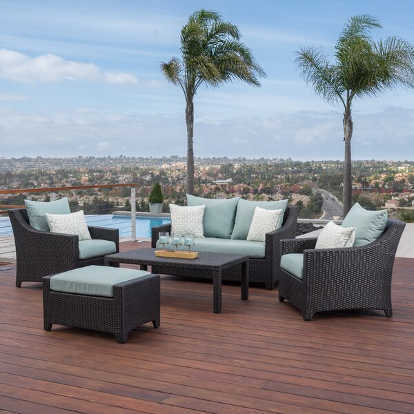 Northridge 5 Piece Sunbrella Sofa Set with Cushions by Three Posts