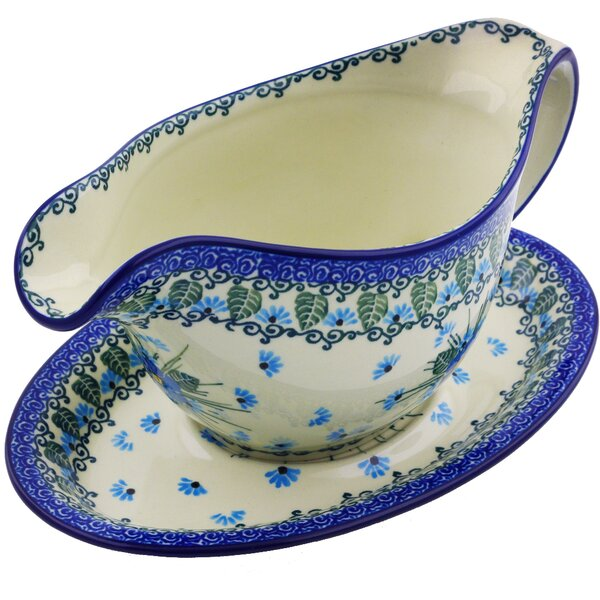Forget Me Not Polish Pottery Gravy Boat with Saucer 16 oz by Polmedia